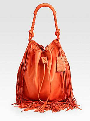 Ralph Lauren Collection Fringed Drawstring Bag