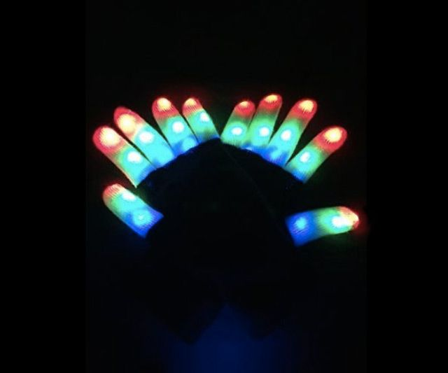 1pc Led Light Glowing Gloves Rainbow Led Gloves Unisex Light Up Glowes Halloween Stage Costume Holiday Events Party Gloves Modern Design Apparel Accessories