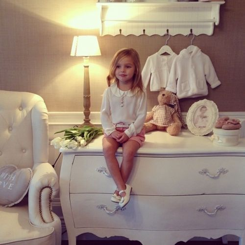 Love the stylish Dresser with shelf above. Khaki and white baby boy (or girl) nursery