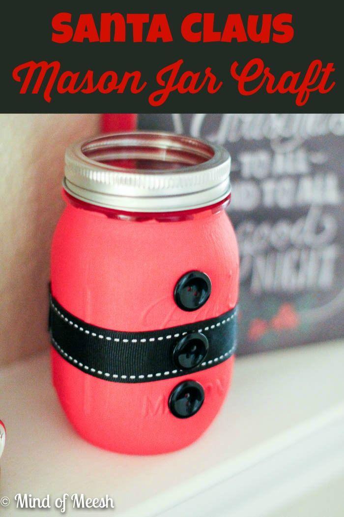 cute santa mason jar