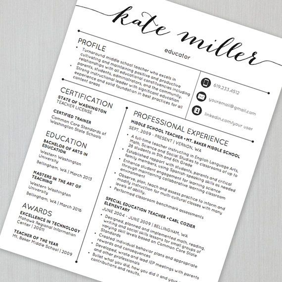 13 best Teacher Resume Templates images on Pinterest - sample teacher resume