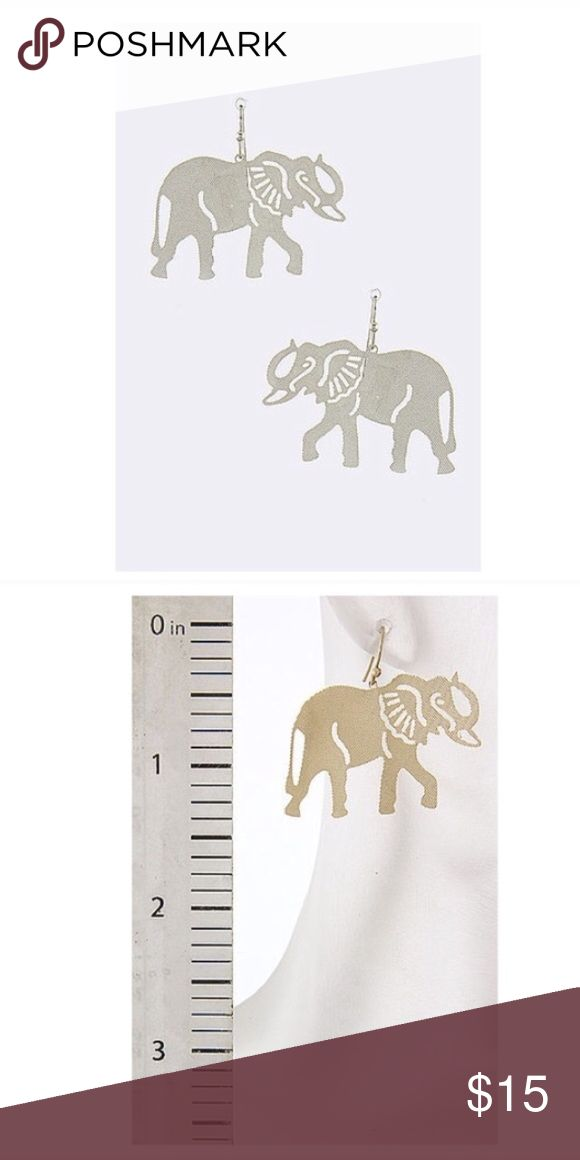 "Laser cut elephant drop earrings LASERCUT ELEPHANT DROP EARRINGS  color matted silver Great for spring summer beach cruise festival concert coachella wear  • Lead/Nickel compliant • Drop Approx. 1.5"" • Fish hook Jewelry Earrings"