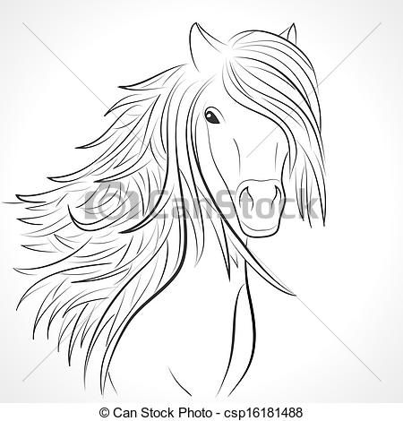 Sketch of horse head with mane on white. Vector - csp16181488
