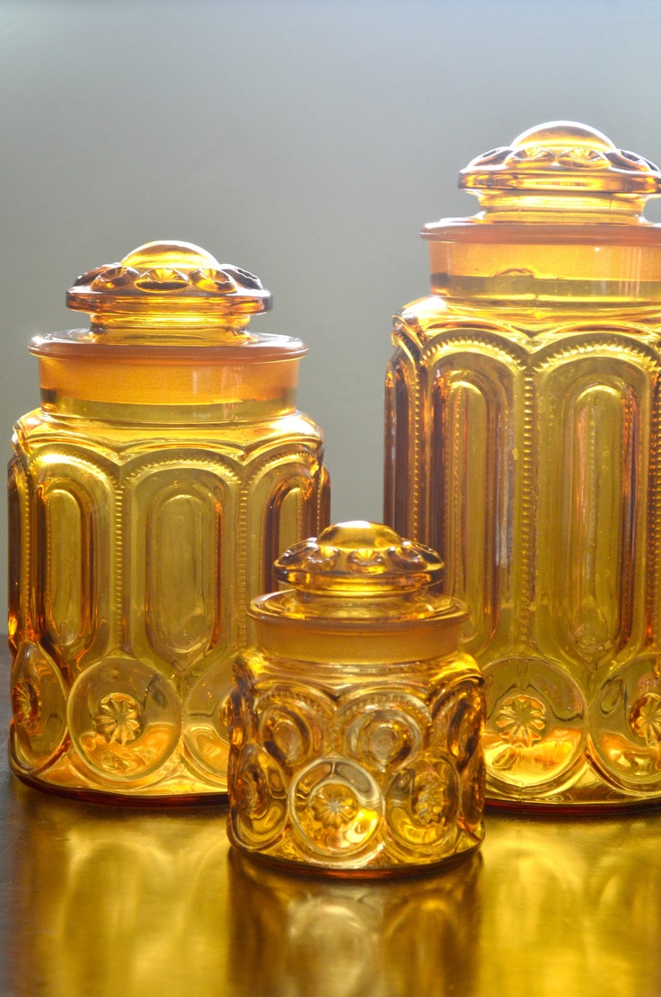 ON SALE Vintage Amber L E Smith Moon and Star Canister Set Kitchen Storage. $45.00, via Etsy.