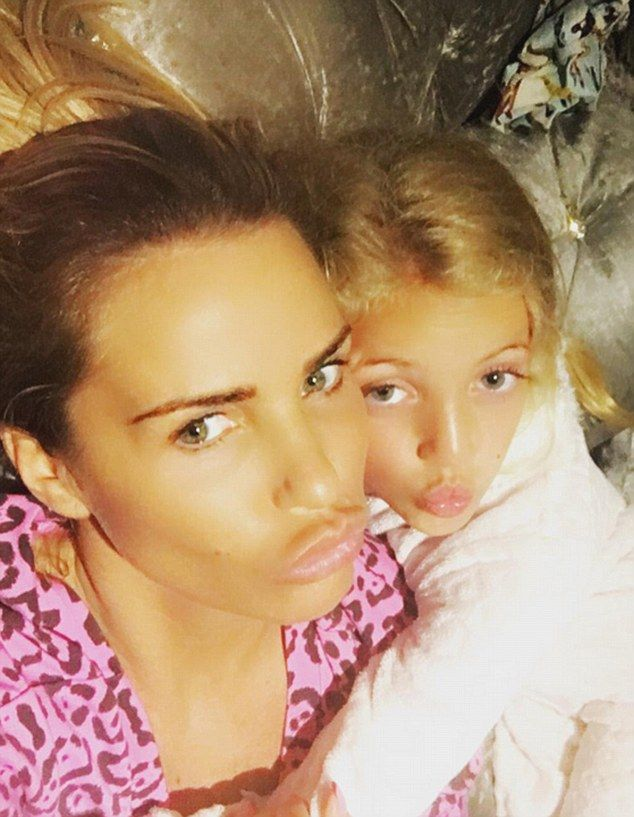 Out and a pout:Katie shares son Harvey, 13 with ex-flame Dwight York, son Junior, 11, and daughter Princess, eight, (pictured) with ex-husband Peter Andre