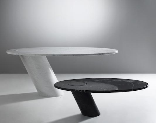 Eccentrico table carrara or black marble-Angelo Mangiarotti 1979  #simple #shape #design http://www.suiteny.com/