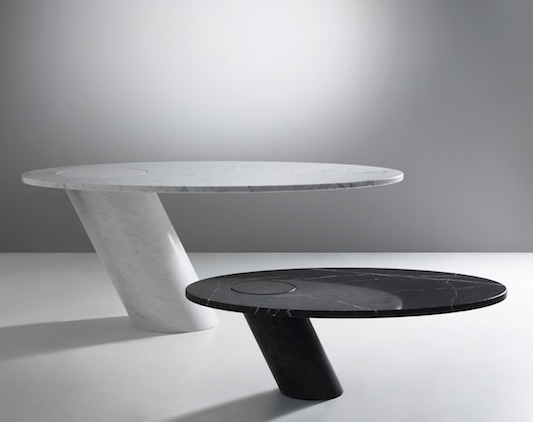 Eccentrico table carrara or black marble-Angelo Mangiarotti 1979  #simple #shape #design http://www.suiteny.com/