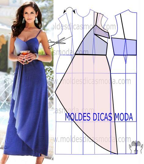 Analise com atenção o desenho do molde vestido azul para que possa fazer a leitura da transformação de forma correta. Este vestido é muito elegante.