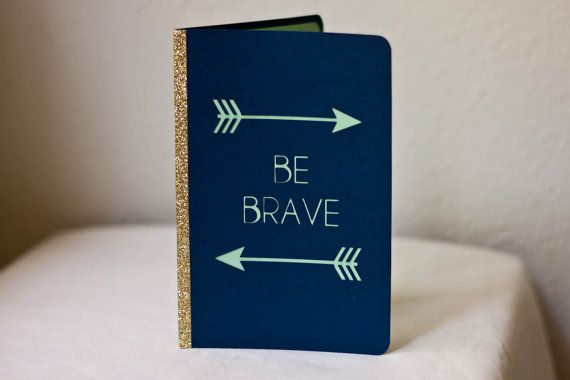 Notebook / Mini Journal - Be Brave - Handstitched - Arrows - Glitter - Blue, Mint Green and Gold