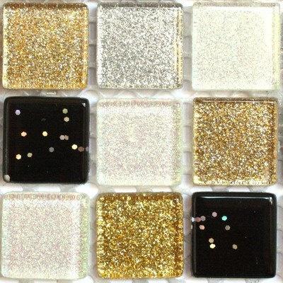 49 Glitter Mosaic Tiles  Yin and Yang by HobbyIslandMosaics,