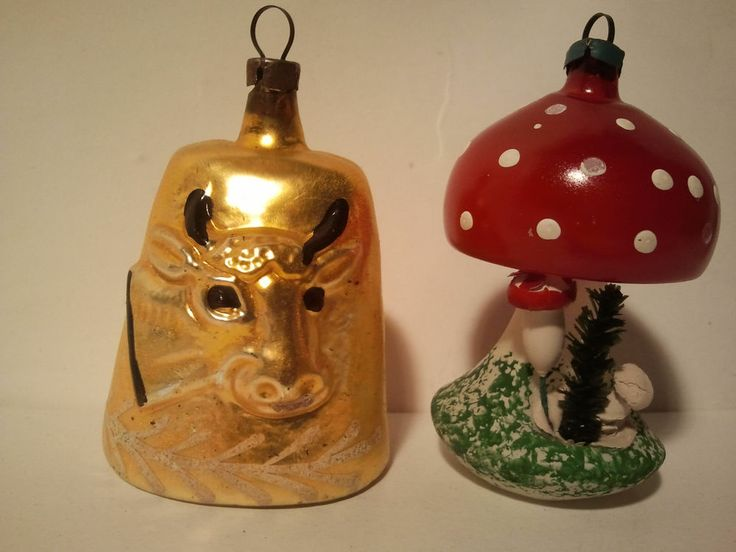 Antique german cow bell head ornament and mushroom for Doorbell in german