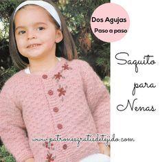 Saco para niña tejido en dos agujas en angora en color rosa viejo, con un diseño simple y hermoso, con flores bordadas en el mismo tono de ...