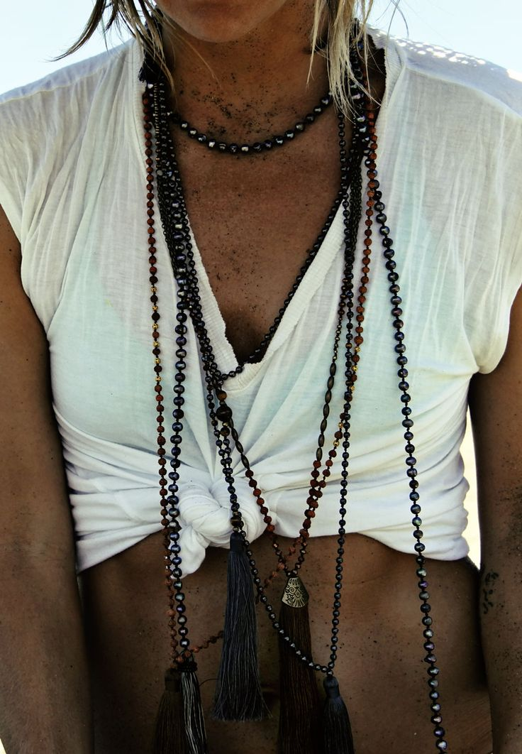 Layered Handmade tassel necklaces from Bali.