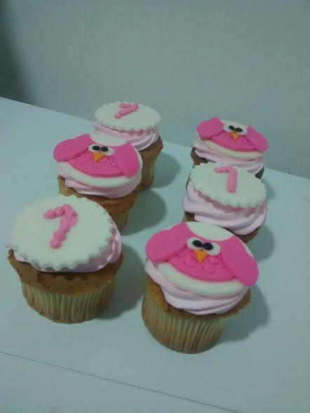 Cupcakes personalizados. Buhos rosados hermosos