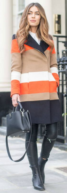 Statement print coats + must have this winter + horiztonal striped coat + leather leggings + ankle boots + Lydia Lise Millen + edgy and striking  Coat: Karen Millen, Shirt: Reiss, Trousers: Zara, Boots: Saint Laurent, Bag: Louis Vuitton.