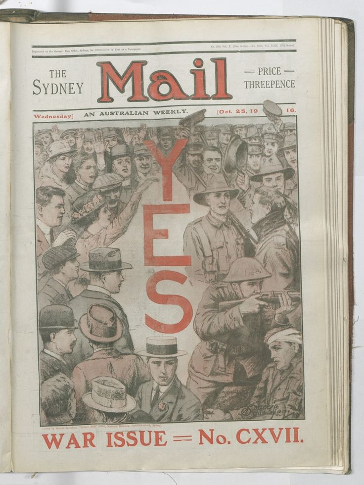 Scaccia Scarafoni's cover illustration exhorts Australians to vote Yes in the conscription referendum. Sydney Mail, 25 October 1916. To order a fine art print of this image, please call the Library Shop on 61 2 9273 1611, quoting digital order number a9609117. http://acms.sl.nsw.gov.au/album/albumView.aspx?itemID=1064155&acmsid=0, image no. 117.