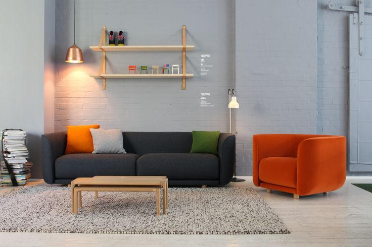AGxCult | Aran sofa, Fat Tulip armchair and Molloy coffee tables, all designed by Adam Goodrum for Cult.