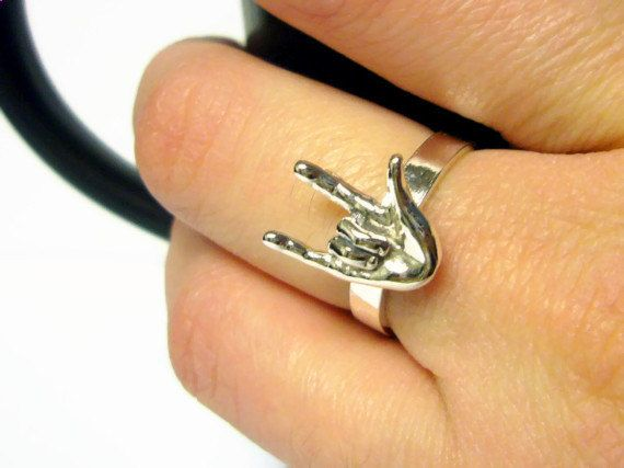 ASL I love you ring sterling silver love ring ASL by WatchMeWorld, $40.00