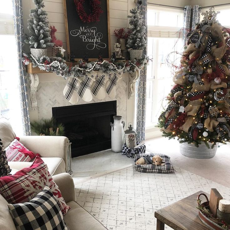 Buffalo Check inspired Christmas farmhouse living room. With sweet little  puppy by the tree!
