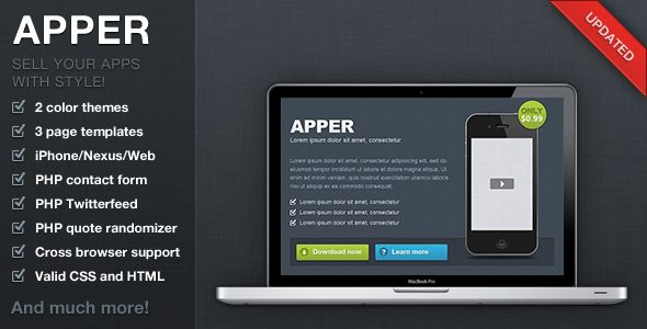 Apper - App Presentation Template . Apper is the perfect template for selling or presenting your iPhone / Android or Web app. Easily customizable for your