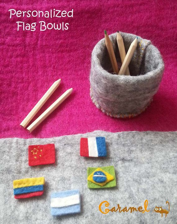 Personalized flags Bowls  made in handmade felt by CaramelShop, $15.30