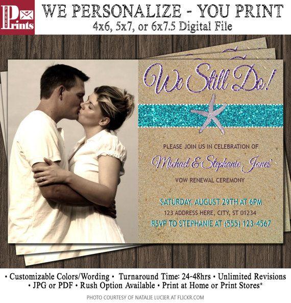 Beach Vow Renewal Invitation - Wedding Vow Renewal Invitations