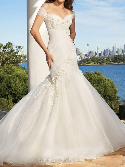 Trumpet/Mermaid Off-the-shoulder Organza Court Train Ivory Appliques Wedding Dresses -USD$309.22