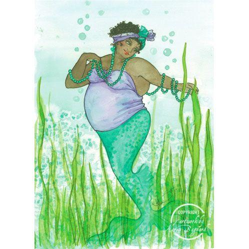 Card by Karen Bagnard: Karen O'Neil, Fat Mermaids, Big Girl, Card, Karen Bagnard, Fat Folk, Local Artists