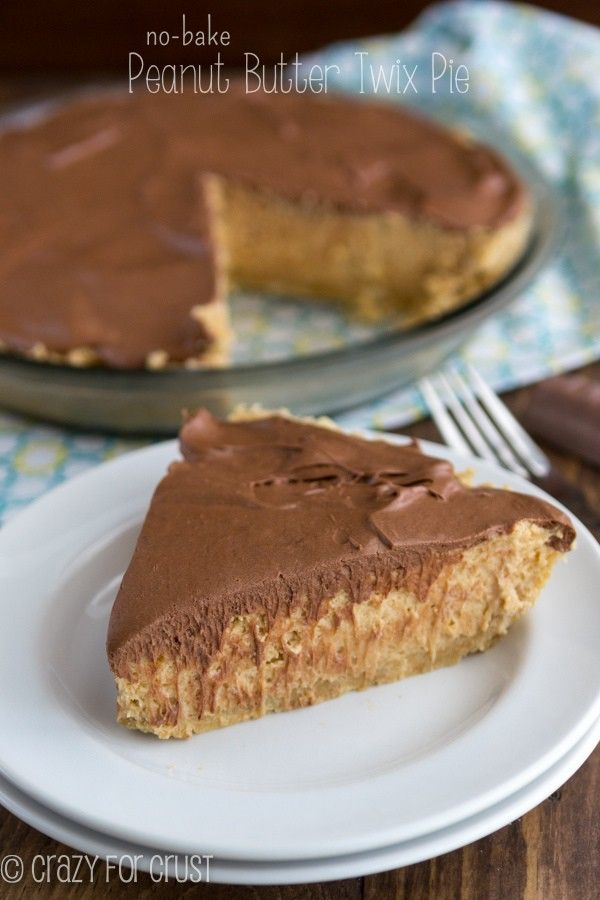 This No-Bake Peanut Butter Twix Pie is full of shortbread, peanut butter, and chocolate. Perfect for any day, especially Pi Day!