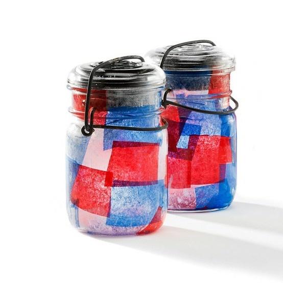 Beplak glazen potjes met de kleuren van het koningshuis of de nederlandse vlag | #knutselen #koningsdag
