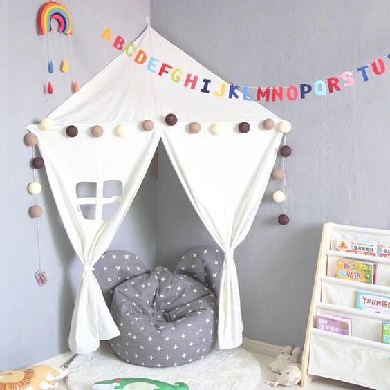 Teepee kids playroom wall canopy kids room nursery