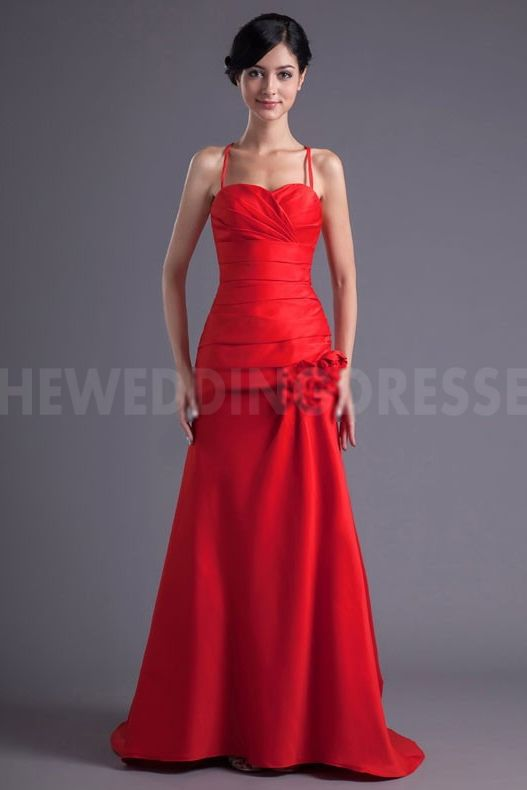Classic Red Satin Bridesmaids Gowns - Order Link: http://www.theweddingdresses.com/classic-red-satin-bridesmaids-gowns-twdn5330.html - Embellishments: Beading; Length: Floor Length; Fabric: Satin; Waist: Natural - Price: 107.6073USD