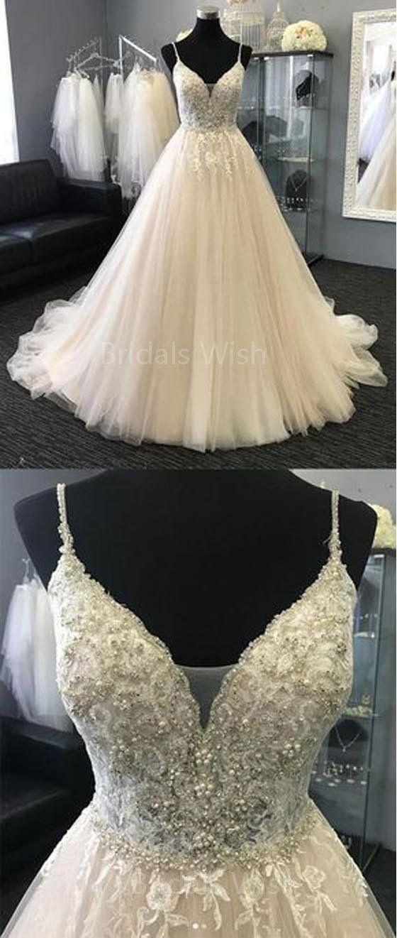 Chic Spaghetti Strap V-Neck Lace Beaded Wedding Dresses, BW0594 – #Beaded #BW059… – Kochen