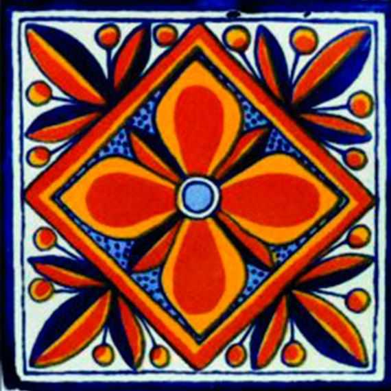 Mexican Tile Handmade Talavera TILE Mosaic By MiPueblitoTiles We Love The Colors And Could Maybe Paint Other Things In Seating Area Orange Red