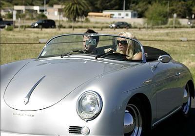 Britney Spears in her Porsche 356 Speedster