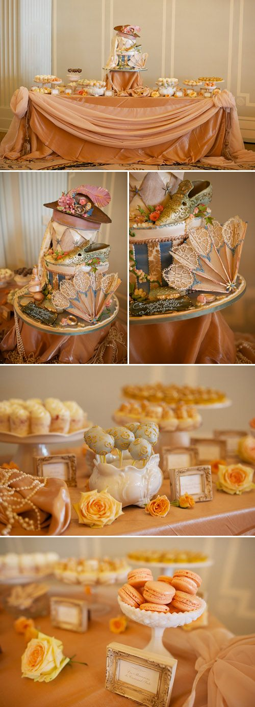Fancy desserts match orange inspired palate at bridal shower, photography by Mike Colón