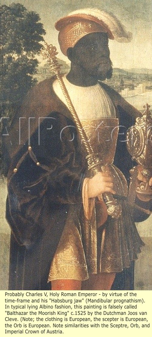 """Charles V: Said to be Christophle le More (get it """"Moor""""), entourage of Holy Roman Emperor Charles V. Painted by the Dutch painter Jan Mostaert circa 1520. It is said to be the oldest painting of a Black man in Europe. It is titled dismissively as """"Portrait of an African"""" (As always, degenerate Albinos seek to portray all Blacks, when not as Slaves or Servants, then as Africans). In this way, they preclude all possibilities of them being native Europeans.   http://realhistoryww.com"""