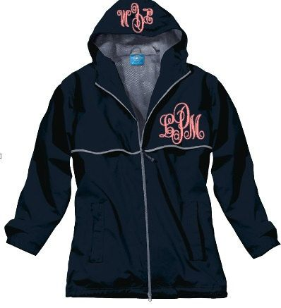 Monogrammed Rain Jacket Personalized by monogrammadness12 on Etsy, $58.99