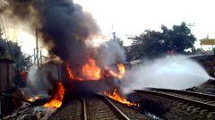 Train Hit Oil Tank Truck In Jakarta