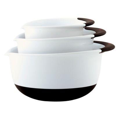 OXO Plastic 3-pc. Mixing Bowl Set - White