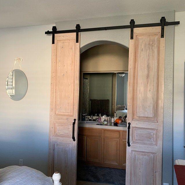 Whitewashed Solid Cypress Sliding Chevron Barn Doors Built To Order Barn Doors Sliding Sliding French Doors Barn Door