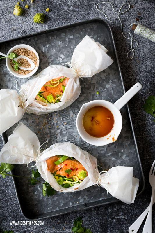 Lachs Päckchen aus dem Backofen mit asiatischer Teriyaki Marinade