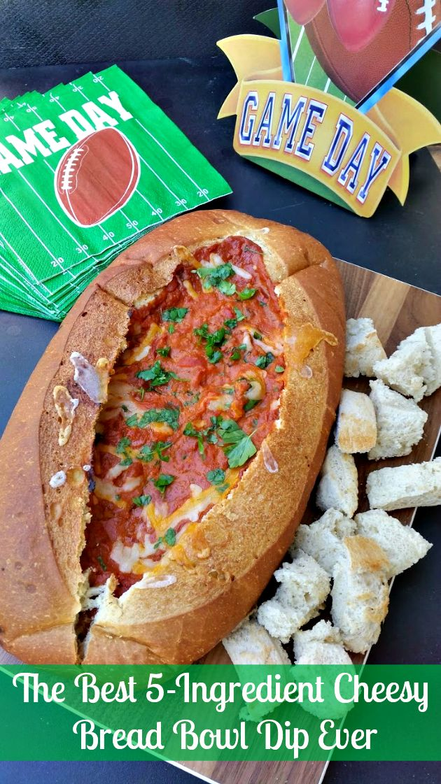 If you want a game day dish that is sure to score a touchdown with your guests, this 5-Ingredient Cheesy Bread Bowl Dip is a huge crowd pleaser #ad #YesYouCAN