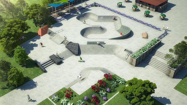 Concrete skatepark design with bowl & street section