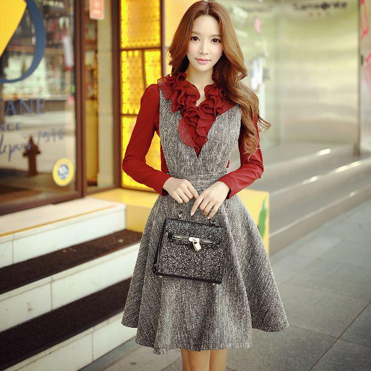 Купить Оригинал 2016 бренд юбка на подтяжках осень зима плюс Размеры Глубокий V воротник моды элегантный серый Для женщин шерстяные Юбки для женщини другие товары категории Юбкив магазине Shop120322 StoreнаAliExpress. brand skirt и woolen skirt