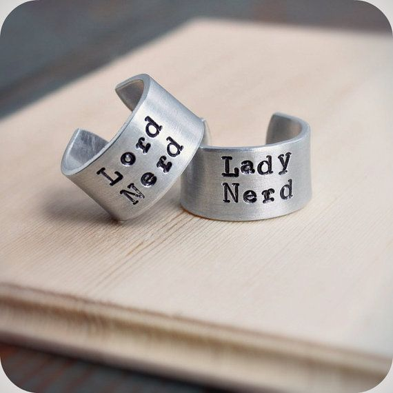 hand stamped lord nerd plus lady nerd wedding ring band set in - Nerd Wedding Rings