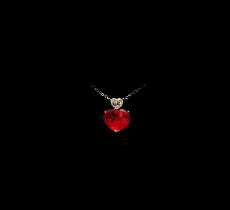 HEART SHAPE BURMESE RUBY AND DIAMOND PENDANT NECKLACE