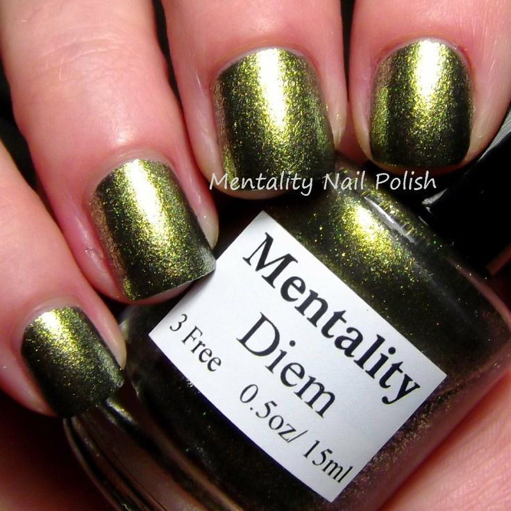 Mentality Nail Polish - Diem, a blackened color shifting fleck polish. Straight on, Diem is a yellow green, then shifts to green and silvery white.