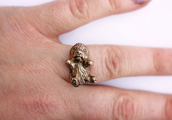 Furry dog friend ring golden doodle mini poodle by AnnaSiivonen