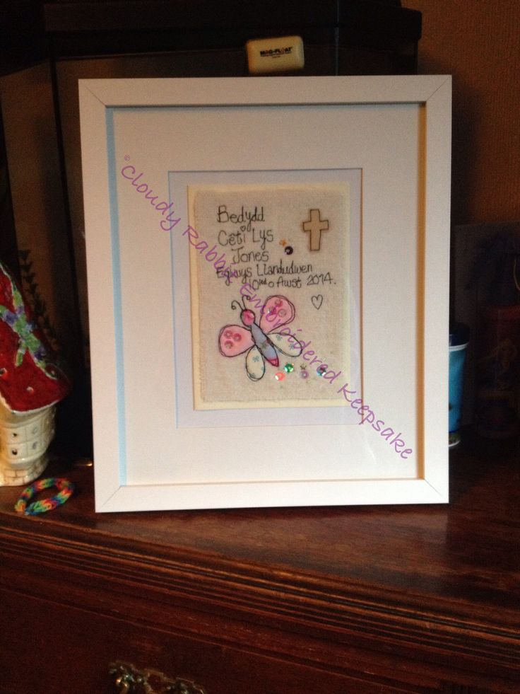 A framed Cloudy Rabbit Embroidered Keepsake card. #freehandmachineembroidery #christening #Welsh #butterfly #sequins   www.facebook.com/somethingalittlebitdiffeRnt